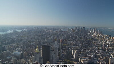 pan shot from empire state over manhattan part II - pan shot...