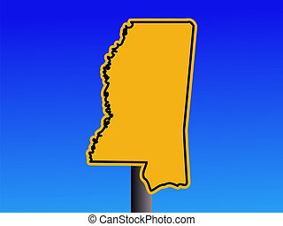 Mississippi warning sign - Warning sign in shape of...