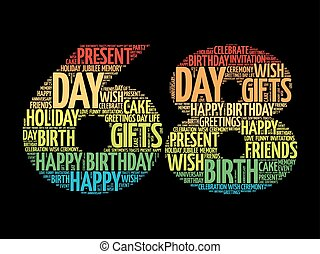 Happy 68th birthday word cloud collage concept