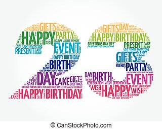 Happy 23rd birthday word cloud collage concept