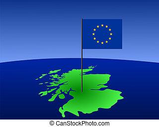map of Scotland and EU flag
