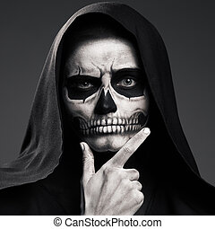 Scary Death Ponders Supporting His Head Arm. Realistic Skull...