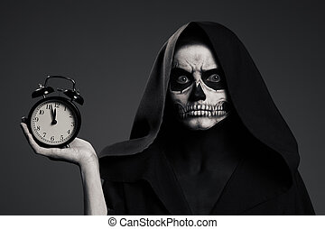 Scary Death Hold A Watch In His Hand. Realistic Skull...
