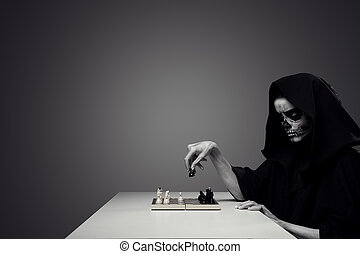 """Concept """"Playing With Death"""". Woman In Realistic Skull..."""