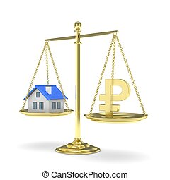 Pan scale with ruble and house 3D rendering - Isolated old...