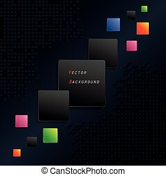 Abstract black geometric background with color squares (can be used in web design, cover design, book design, website background, advertising)