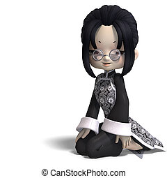 funny cartoon girl from china. 3D rendering with clipping path and shadow over white