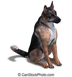 German Shepherd Dog. 3D rendering with clipping path and...