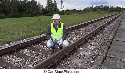Angry railroad worker talking
