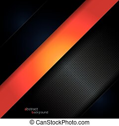 Abstract design black background with orange layer vector