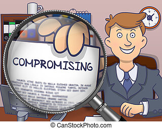 Compromising through Magnifier. Doodle Design. -...