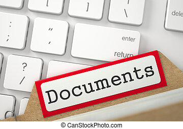 Folder Register with Documents 3D - Documents Concept Word...