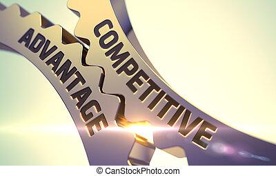 Competitive Advantage Concept. Golden Metallic Gears. 3D. -...