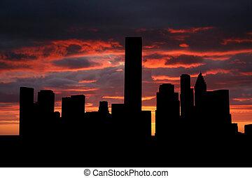Houston skyline at sunset with beautiful sky illustration