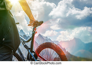 Mountain Biking Concept. Bike Closeup Photo.