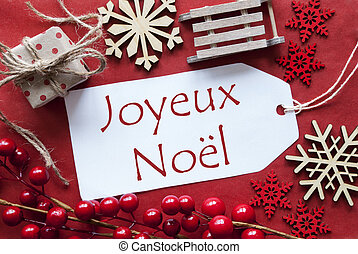 Label WIth Decoration, Joyeux Noel Means Merry Christmas -...