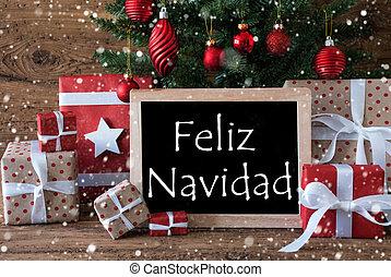 Colorful Tree With Snowflakes, Feliz Navidad Means Merry...