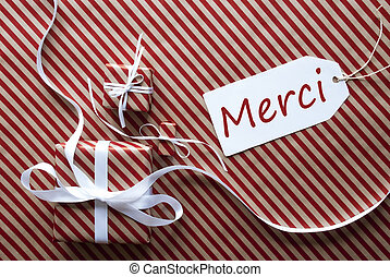 Two Gifts With Label, Merci Means Thank You - Two Gifts Or...