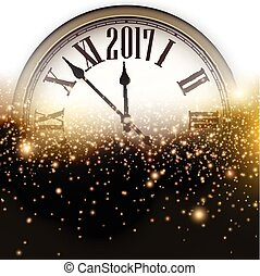 2017 New Year background with clock. - 2017 New Year...