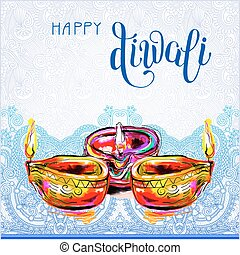 Happy Diwali watercolor greeting card to indian fire...