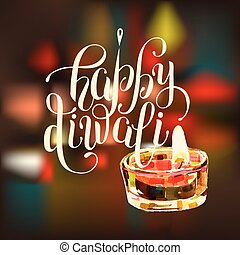hand lettering inscription Happy Diwali to indian fire...