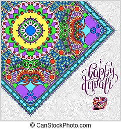 Happy Diwali greeting card with paisley ornamental candle -...