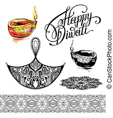 set hand drawing design element for Diwali celebration -...
