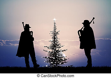 bagpiper at Christmas - illustration of bagpiper at...