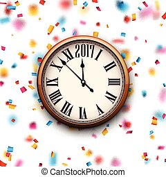 2017 New Year clock background. - 2017 New Year round clock...