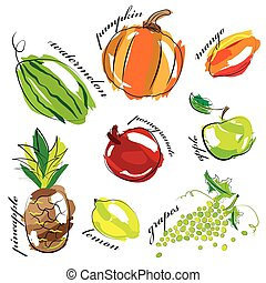 Fruit and vegetables set icons isolated on white background.