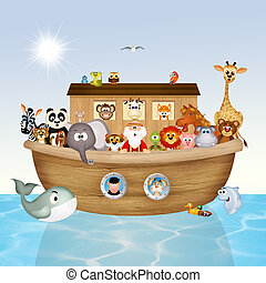 illustration of Noah's ark - cute illustration of Noah's ark