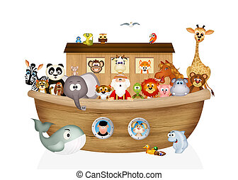 animals on Noah's ark - illustration of animals on Noah's...