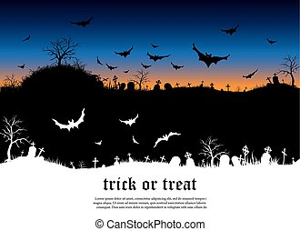 Halloween background with Scary old graveyard and bats