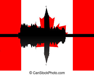 Canadian parliament with flag - Canadian parliament building...