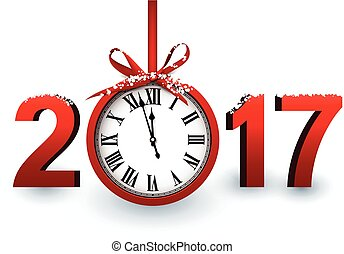 2017 New Year background with clock. - 2017 New Year white...