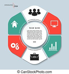 infographic vector template with 6 steps and circle, parts, options, sectors, stages. Can be used for graph, pie chart, workflow layout, cycling diagram, brochure, report, presentation, web design