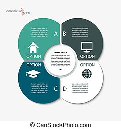 Infographic business template for project or presentation with four segments and circle. Vector illustration can be used for web design, workflow or graphic layout, diagram, education