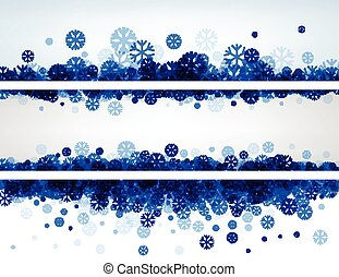 Winter banners with blue snowflakes - White winter banners...