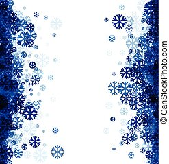 Winter background with blue snowflakes - White winter...