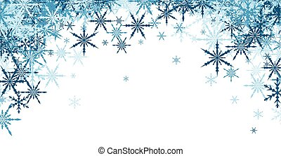 Winter background with blue snowflakes. - White winter...