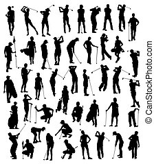 Golf Player Silhouettes Set