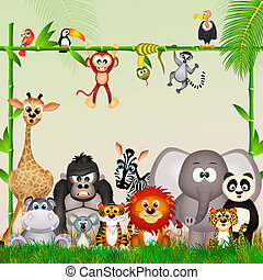 wild animals in the jungle - illustration of wild animals in...