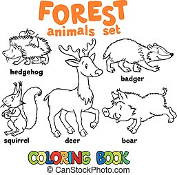 Forest animals coloring book - Coloring book set of funny...