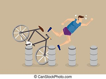 Cycling Accident Cartoon Vector Illustration - Cartoon...