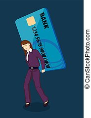 Huge Credit Card Debt Vector Illustration - Sad lady...
