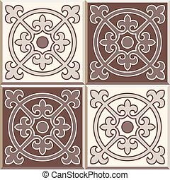 Retro Floor Tiles patern, set of four patterns - Set of four...