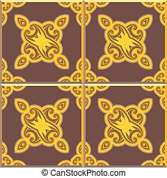 Retro Floor Tiles patern, yellow and brown - Floor tiles -...