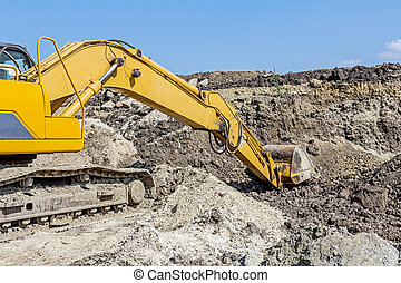 View on excavator who is working, caterpillar at...