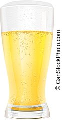 Lager light non alcoholic beer in glass. Isolated on white...