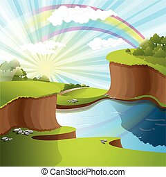river and rainbow - illustration, landscape rainbow on river...